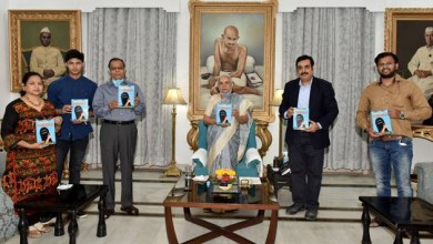 "Photo of World's first scientoon book ""Bye Bye Corona""on Coronavirus released by Governor of UP, Ms. Anandi Ben"