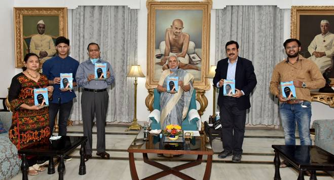"""Photo of World's first scientoon book """"Bye Bye Corona""""on Coronavirus released by Governor of UP, Ms. Anandi Ben"""